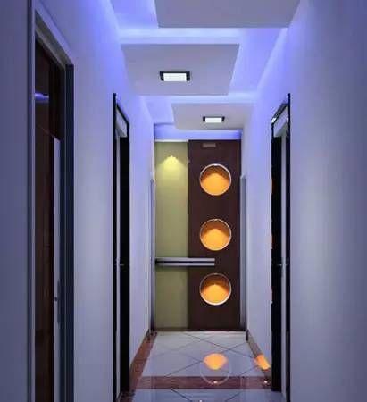 客厅进门玄关效果图:走廊吊顶装修效果图,光影与造型兼具