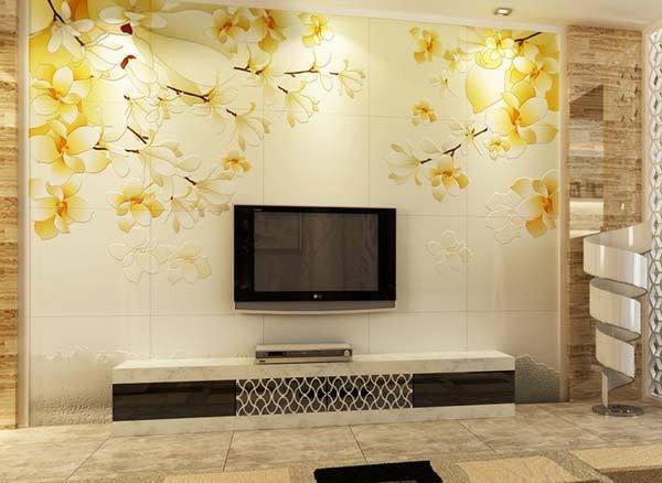 2015现代简约客厅装修电视背景墙瓷砖效果图 客厅瓷砖背景墙装修
