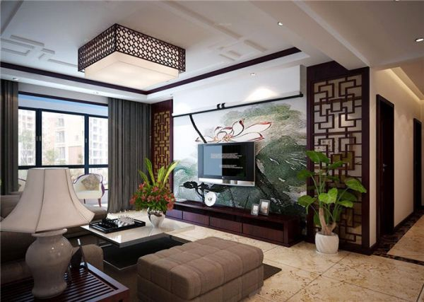 中式客厅背景墙装修效果图2016图片大全_中式客厅背景
