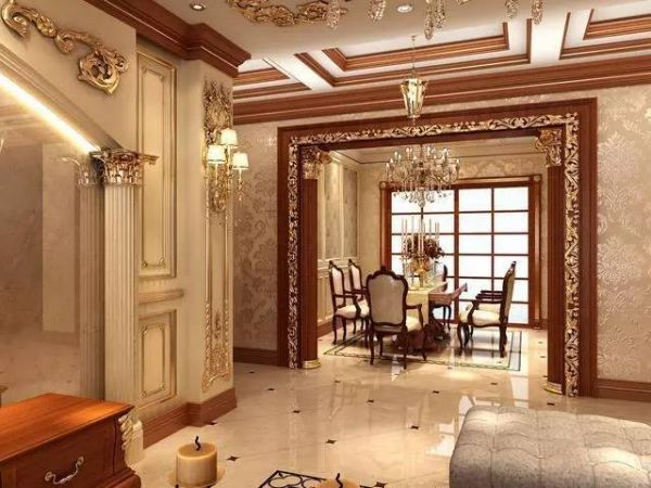 two别墅欧式风格,主要以石膏板吊顶做雕花设计,在做硅藻泥的墙体图案