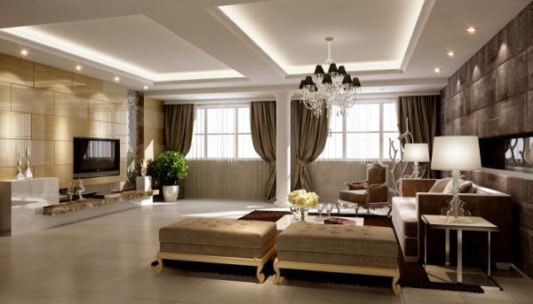 客厅中式风格很幸福,不仅奢华而且还会和和美美!