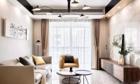 85平现代惬意三室 餐客厅瓷砖墙面