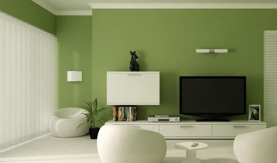 壁纸与白色天花板打造了简约时尚的客厅.   暖黄色即使在白