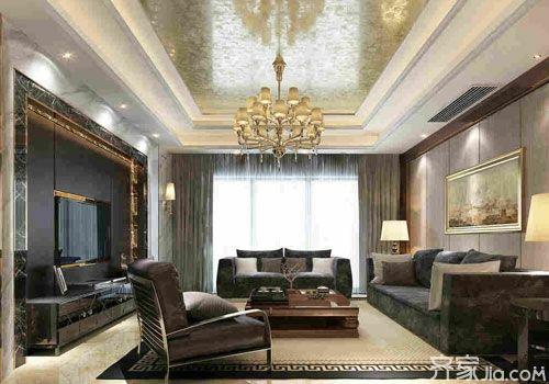 > 石膏线客厅电视背景墙效果图 先赏为快  白色石膏线围成的吊顶,古典