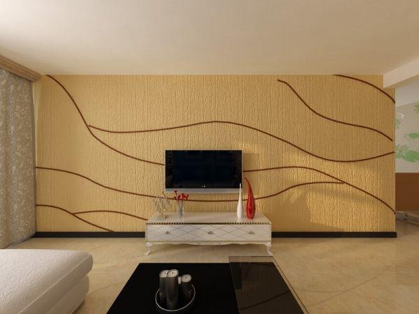 99款硅藻泥电视背景墙效果图2015款 小户型客厅电视背景墙很亮丽(图)