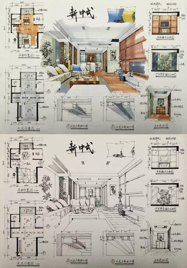 室内设计手绘马克笔上色快题分析图解_客厅装修大全