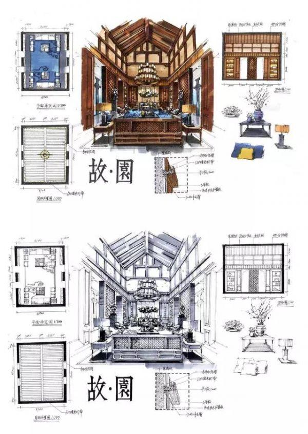 室内设计手绘马克笔图解快题设计装修_客厅上色大全英语ppt标题字体分析图片