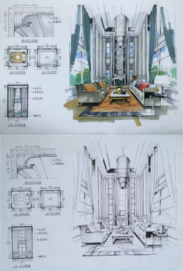 室内设计手绘马克笔上色快题分析图解