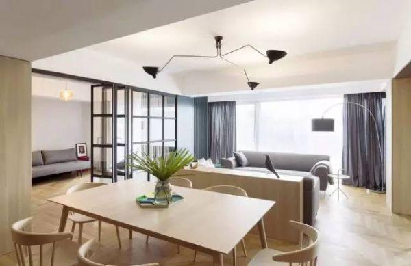 厨房和办公室,开阔的客厅和餐厅设计为两个相互交叉的长方形体量,客厅