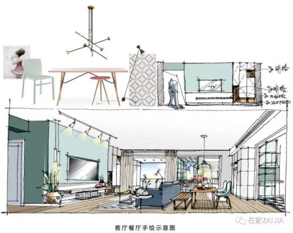手绘图能更好的呈现客厅 餐厅 厨房的全开放格局.