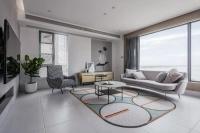 130㎡现代简约风格装修,客厅落地窗太美了